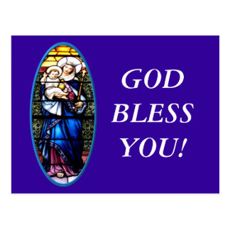 Jesus and Mary stained glass window Post Card