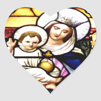 Jesus and Mary stained glass window Stickers