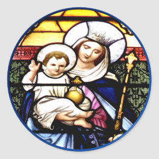 Jesus and Mary stained glass window Round Stickers