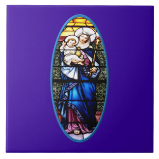 Jesus and Mary stained glass window Tiles