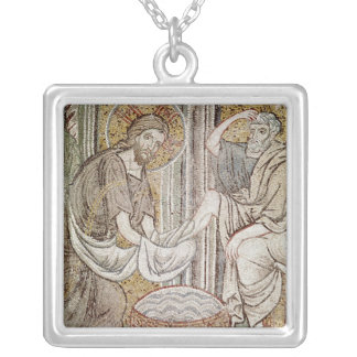 Jesus and St. Peter Square Pendant Necklace