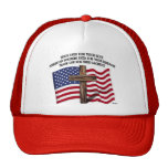 Jesus and the American Soldiers rugged cross US... Trucker Hat