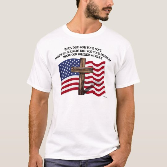 Jesus and the American Soldiers rugged cross US... T-Shirt