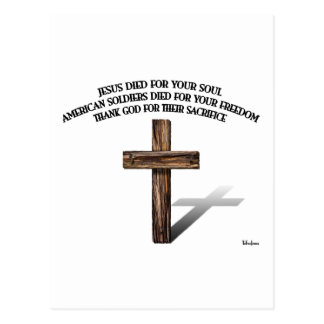 Jesus and the American Soldiers with rugged cross Postcard