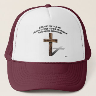 Jesus and the American Soldiers with rugged cross Trucker Hat