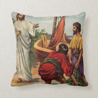 Jesus and the fishermen throw pillow