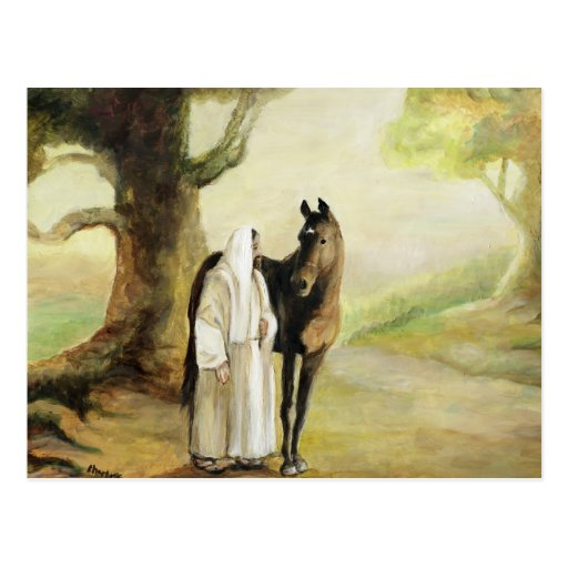 Jesus and the Horse Art Postcard