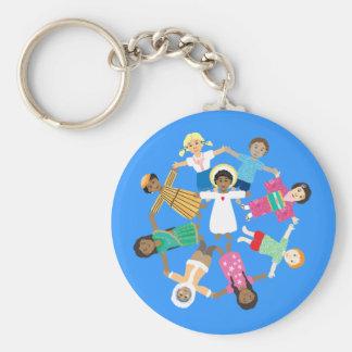 Jesus and the little children basic round button keychain