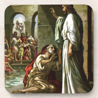 Jesus and the man at the Pool Beverage Coasters