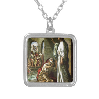 Jesus and the man at the Pool Silver Plated Necklace