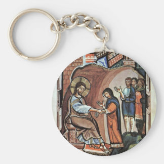 Jesus And The Mother Of Peter By Meister Des Hitda Key Chain