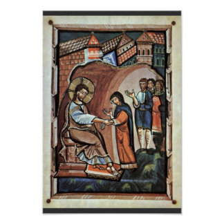 Jesus And The Mother Of Peter By Meister Des Hitda Print