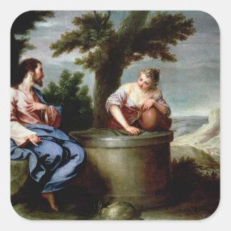 Jesus and the Samaritan Woman Square Sticker