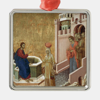 Jesus and Woman at Well Square Metal Christmas Ornament
