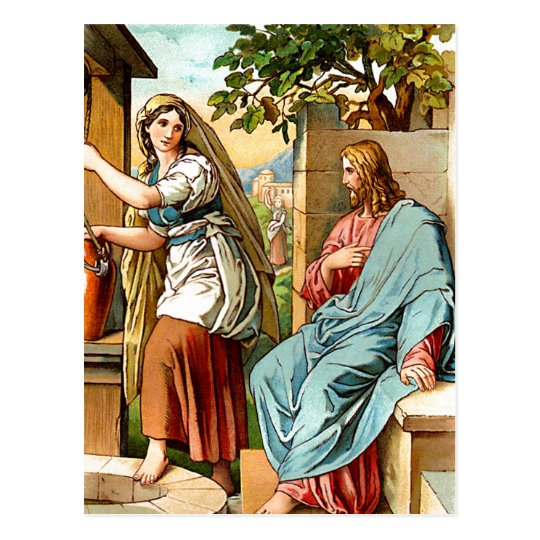 jesus and women at the well postcard