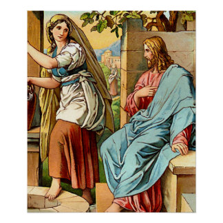 jesus and women at the well poster