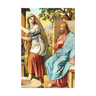 jesus and women at the well Wrapped Canvas