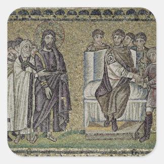 Jesús antes de Pontius Pilate Calcomanía Cuadrada Personalizada