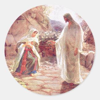 Jesús aparece a Maria Magdalena Pegatina Redonda