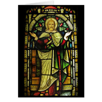 Jesus Arms Outstretched Stained Glass Image Card
