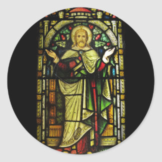 Jesus Arms Outstretched Stained Glass Image Classic Round Sticker