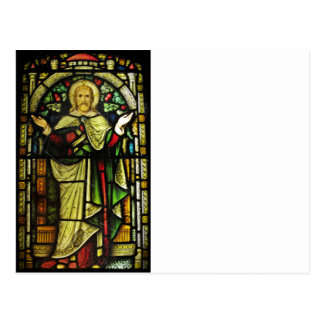 Jesus Arms Outstretched Stained Glass Image Postcard