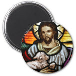 Jesus as The Good Shepherd Portrait 2 Inch Round Magnet
