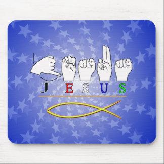 JESUS  ASL FINGER SPELLED SIGN COLORS MOUSE PAD