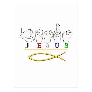 JESUS  ASL FINGER SPELLED SIGN COLORS POSTCARD