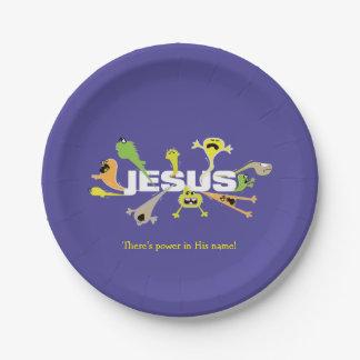 Jesús asustadizo platos de papel