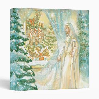 Jesus at Christmas Looking Through Veil of Snow Vinyl Binders