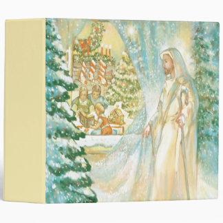 Jesus at Christmas Looking Through Veil of Snow 3 Ring Binder