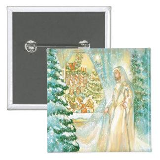 Jesus at Christmas Looking Through Veil of Snow Pins