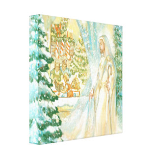 Jesus at Christmas Looking Through Veil of Snow Stretched Canvas Prints