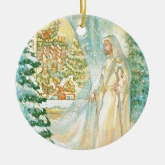 Jesus at Christmas Looking Through Veil of Snow Ceramic Ornament