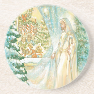 Jesus at Christmas Looking Through Veil of Snow Coaster