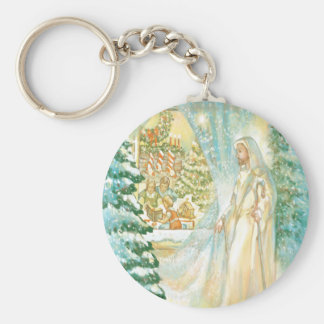 Jesus at Christmas Looking Through Veil of Snow Key Chains