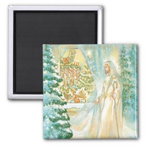 Jesus at Christmas Looking Through Veil of Snow Refrigerator Magnets