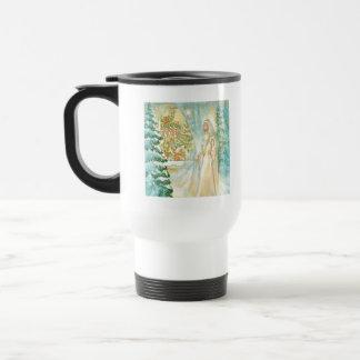 Jesus at Christmas Looking Through Veil of Snow Coffee Mugs