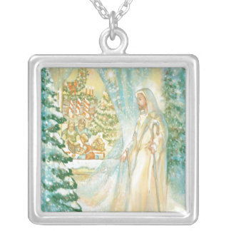 Jesus at Christmas Looking Through Veil of Snow Pendants