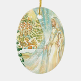 Jesus at Christmas Looking Through Veil of Snow Ornaments