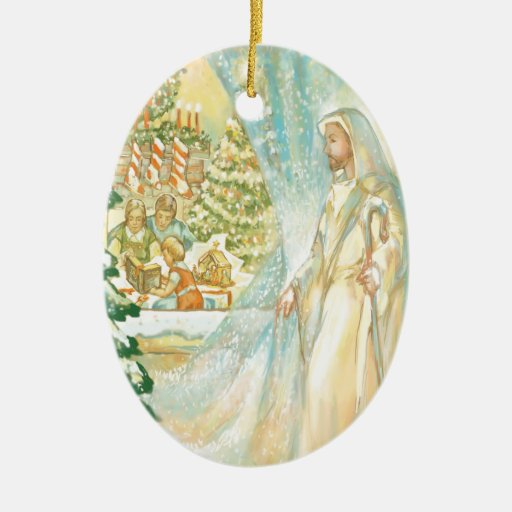 Jesus at Christmas Looking Through Veil of Snow Double-Sided Oval Ceramic Christmas Ornament