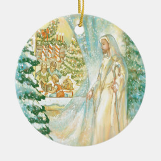 Jesus at Christmas Looking Through Veil of Snow Ornament