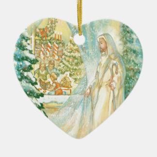 Jesus at Christmas Looking Through Veil of Snow Christmas Ornament