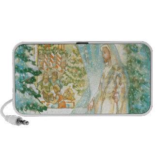 Jesus at Christmas Looking Through Veil of Snow Portable Speaker