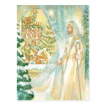 Jesus at Christmas Looking Through Veil of Snow Post Cards