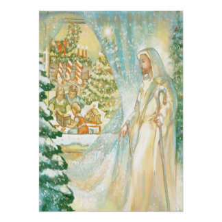 Jesus at Christmas Looking Through Veil of Snow Poster
