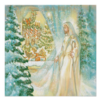 Jesus at Christmas Looking Through Veil of Snow Posters