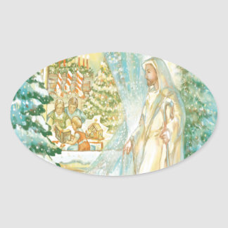 Jesus at Christmas Looking Through Veil of Snow Oval Stickers