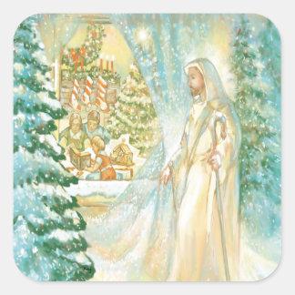 Jesus at Christmas Looking Through Veil of Snow Square Stickers